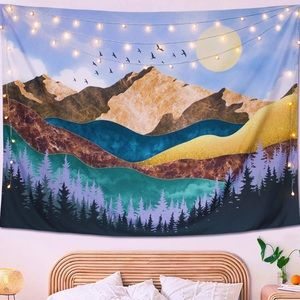 Mountain Moon Bohemian Tapestry Nature Colorful
